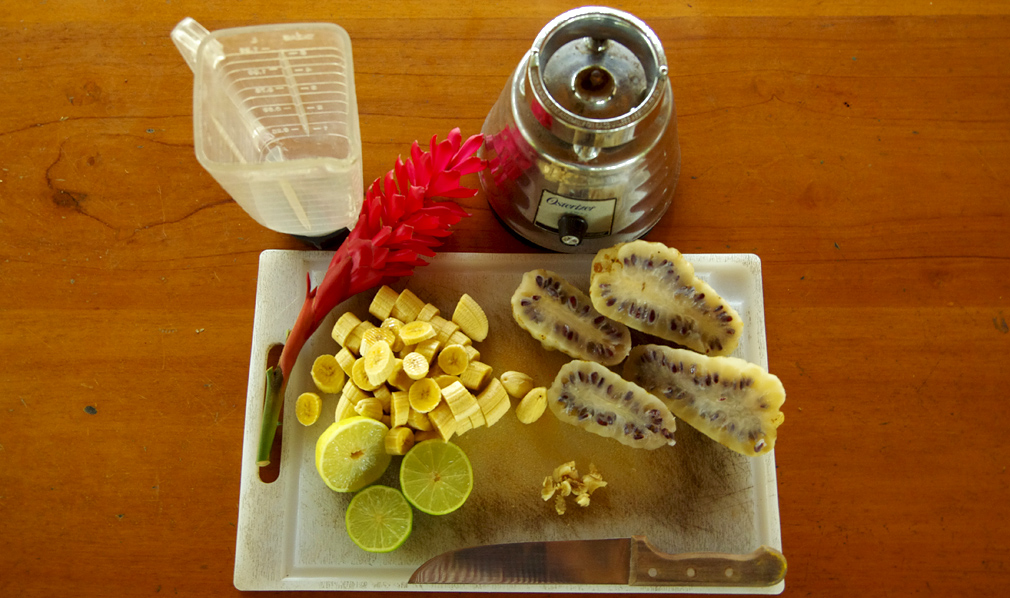 Costa Rica, jus de noni avec bananes, citrons, gingembre - Phase 2