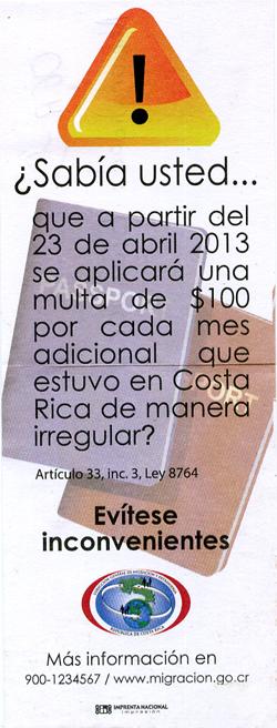 Immigration Costa Rica à partir du 23 avril 2013