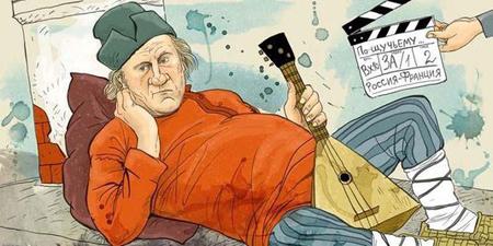 Caricature représentant Gérard Depardieu allongé, une balalaïka à la main et chaussé de lapti