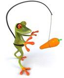 Grenouille qui poursuit la carotte