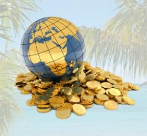 Paradis fiscal - Globe terrestre et tas d'or