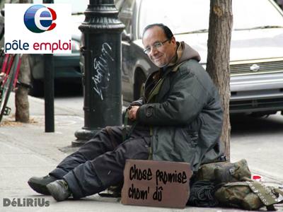 François Hollande fait la manche en face de Pôle Emploi