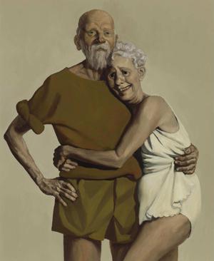 Un « Vieux couple Signé John Currin, daté de 1993
