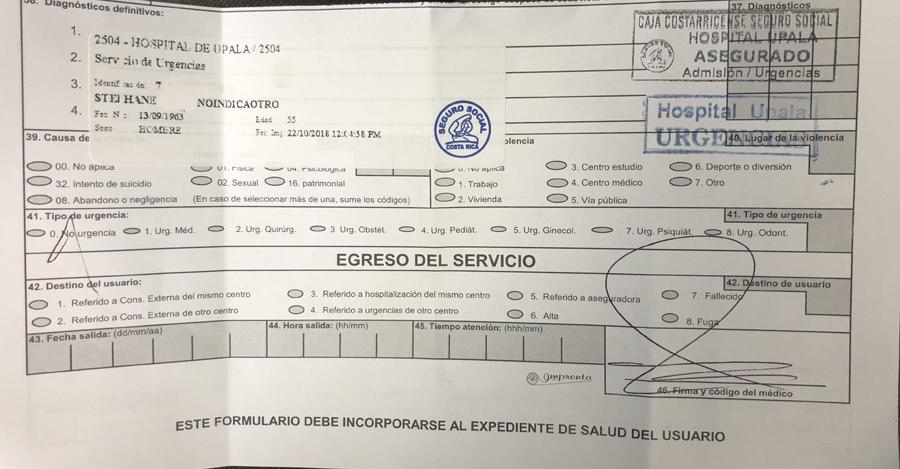 Bulletin d'hospitalisation au Costa Rica