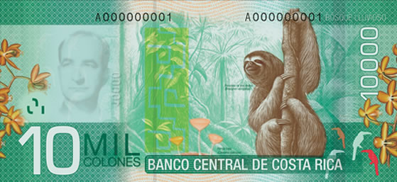 Billet de 10.000 CRC : écosystème forêt humide (rainforest)