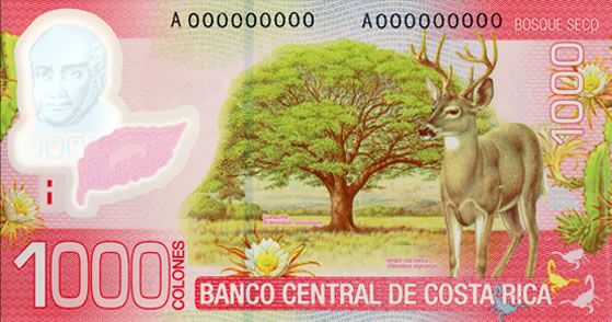 Billet de 1.000 CRC : écosystème forêt sèche (typique Guanacaste)