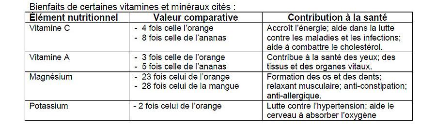 Tableau des bienfaits du maranon (pomme cajou)