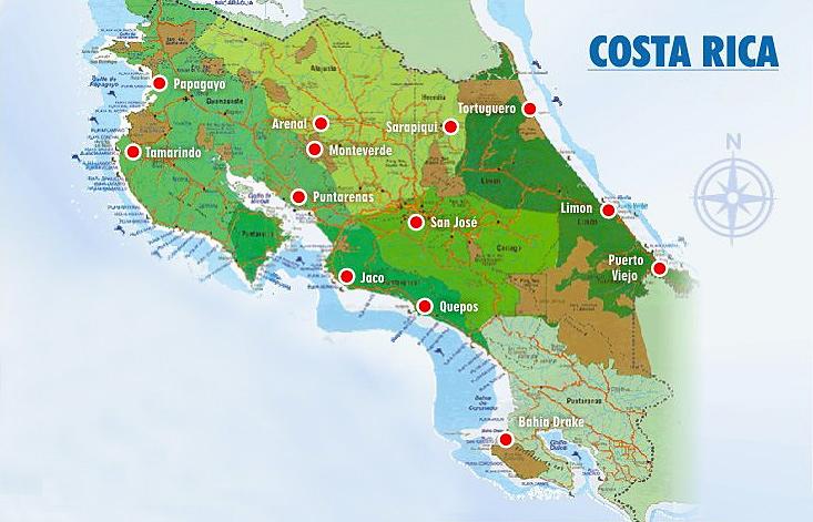 Carte du Costa Rica - Costa Rica Immobilier