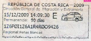 Visa d'entrée au Costa Rica valable 90 jours